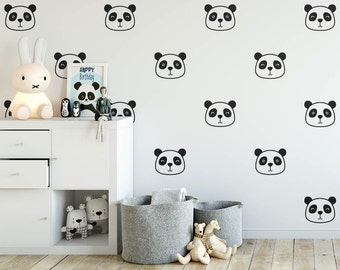 Panda Wall Decals - Nursery Decals, Cute Panda Face Decals, Vinyl Wall Decals, Kids Room Decals, Wall Stickers