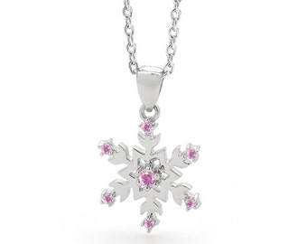 Breast Cancer Awareness - Lets Stick Together, Pink Snowflake Necklace - Limited Edition 2016