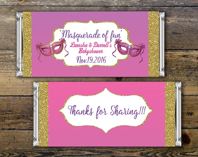 Masquerade party, candy wrapper ,Birthday Candy Bar Wrapper, baby shower,  Birthday Chocolate Bar Birthday Candy Wrappers, party favor, mask