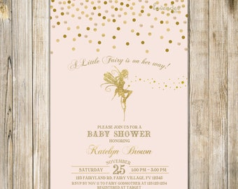 Blush Pink Gold FAIRY BABY SHOWER Invitation, Little Fairy On Her Way Shower Invite, Magical Enchanted Pixie Whimsical Party Fairy Dust LA21