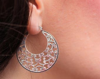 Sterling Silver Earrings, 925 stamped, hoop earrings