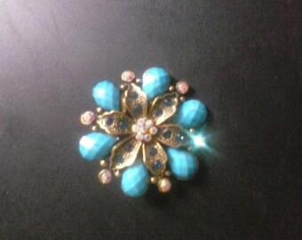 blue, gems, rhinestone, metal, lapel,brooch,pin, FREE SHIPPING