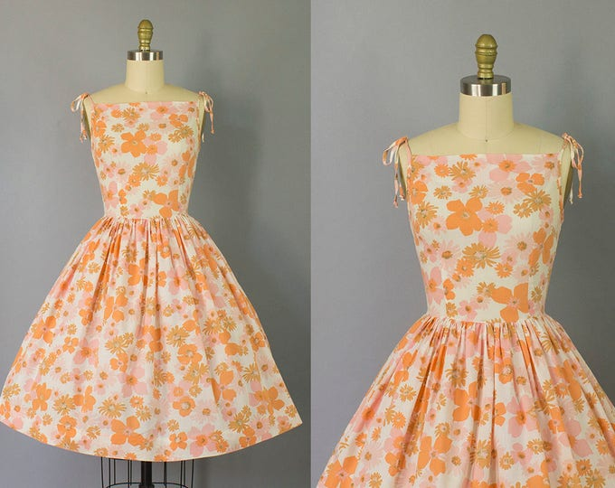 1950s floral sundress with tie shoulders/ 50s novelty print spaghetti strap dress/ small