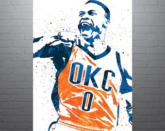 Russell Westbrook OKC Thunder, Sports Art Print, Basketball Poster, Kids Decor, Watercolor Contemporary Abstract Drawing Print, Modern Art