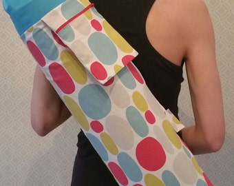 NEW DESIGN* Bubble Print, Large Yoga Mat Bag with zipped pocket