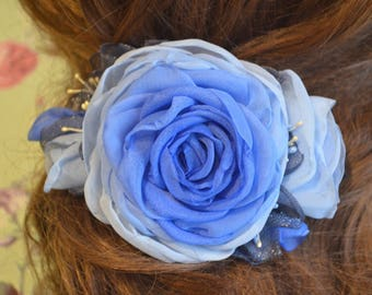 Barrette with flower. Barrette . Barrette blue . Hair clip with rose. Hairpin-machine .