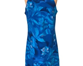 Blue Cyber abstract print High Neck Dress