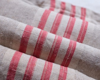 Late 1800s french red striped linen fabric, red & oatmeal, upholstery, cushion, shabby chic, vintage textile, ticking