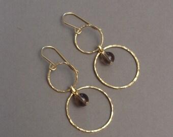 Vermeil and smoky Quartz earrings