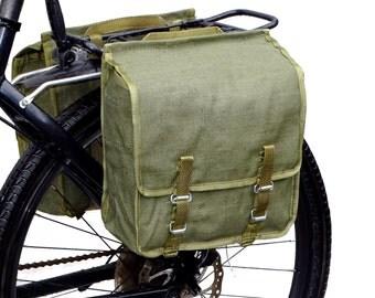 1980s Ex-Army Showerproof Canvas Pannier Bags pair retro vintage green large bike panniers waterproof rainproof NOS