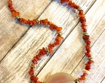 Bohemian Orange and Red Agate Chip Antique Gold Statement Necklace