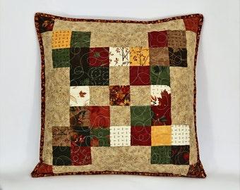 Handmade Patchwork Pillow, Rustic Pillow, Quilted Pillow Cover, 18 x18 Pillow Sham, Earth Tones Throw Pillow, Fall Pillow, Autumn Pillow