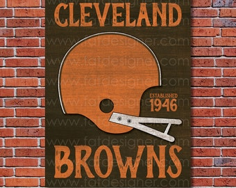 Cleveland Browns - Vintage Helmet - Art Print - Perfect for Mancave