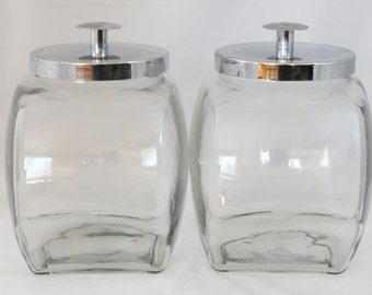 Pair of Vintage Glass Canister/Container with Chrome Metal Lid