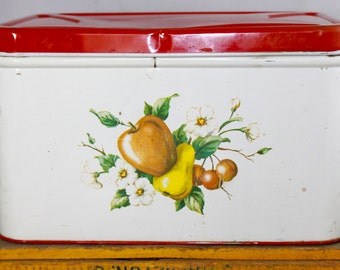 Vintage Decoware Tin Bread Box with a Pretty Fruit/Floral Print from the 1950's