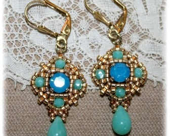 Earrings Collection Antique, gold and turquoise, medieval, renaissance, Eastern inspiration