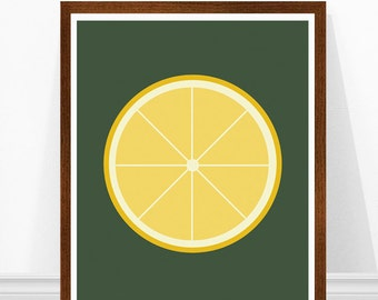 Lemon Print, Modern Kitchen Art, Mid Century Modern, Scandinavian Kitchen Art, Fruit Print, Retro Kitchen Art