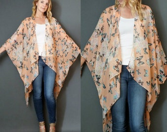 Peach Butterflies Boho Tunic Swimsuit Cover Floral Print Sheer Caftan Kimono Top Cardigan Onesize SML Plus Size