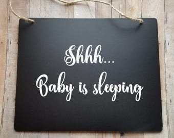 Shhh...Baby is sleeping - Newborn Baby Sign - Nap Time Sign - Do Not Disturb - Baby Shower Gift - New Baby Gift - Baby Room Decor