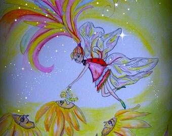 Pixie Dust,Faerie,flowers,sunflowers, Daisy,children, Digital download 8x10