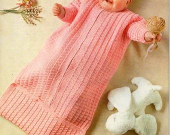 vintage baby sleeping bag knitting pattern pdf baby cocoon pram nest DK light worsted 8ply pdf instant download