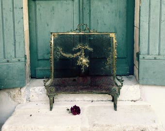 Reserved sold please do not purchase -  antique french bronze firescreen - fire guard - faded grandeur - shabby chic - swags roses ribbons
