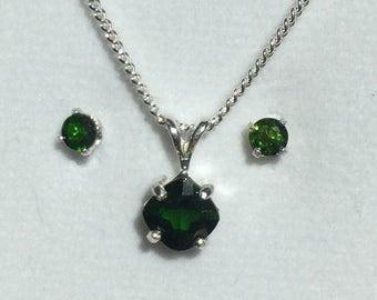 Vibrant green Chrome Diopside pendant & earrings set in sterling.