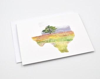 Texas State Art Card - Watercolor Notecard - Texas Gift - Texas State Art - Blank Notecards - Texas Watercolor -  Texas Landscape