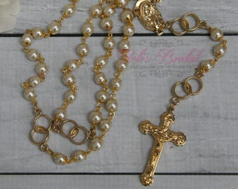 FAST SHIPPING!! Handcrafted Beautiful Gold Wedding Rosary Imported