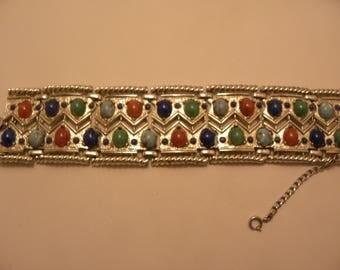 Vintage Solid & Speckled Egg Cabochon Beads Wide Bracelet in Silver Tone