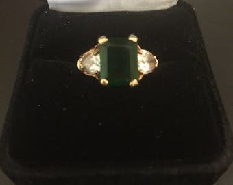 10K Gold Lab-created emerald and CZ ring - size 6
