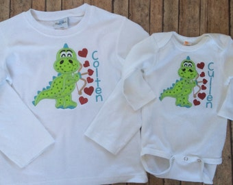 Dino with Hearts Applique Shirt
