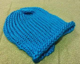 Bright Blue Acrylic Loom-Knitted Adult Winter Hat
