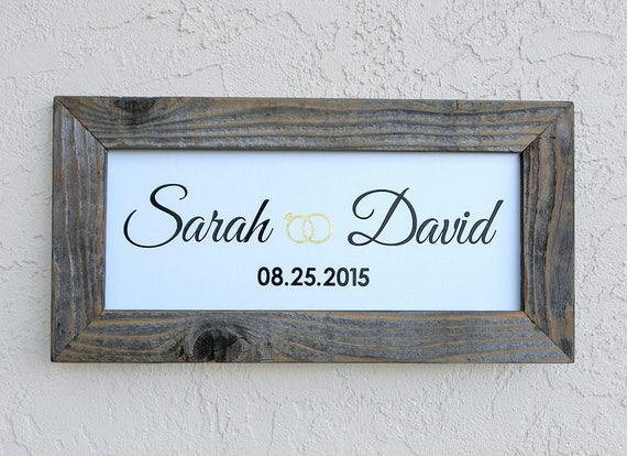 Custom Wedding Signs. Reclaimed Wood Frame. Personalized Wedding Sign. Established Sign. Custom Rustic Signs. Mr and Mrs Sign. 20x10
