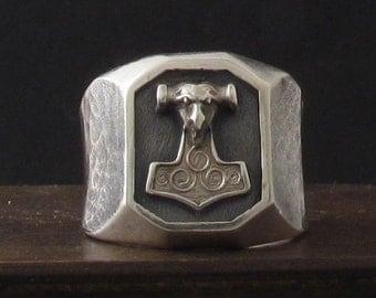 Hand Forged Mjolnir Bottle Opener Ring