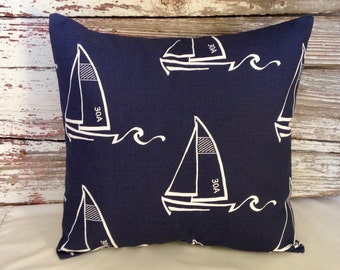 sailboat pillow cover navy & white