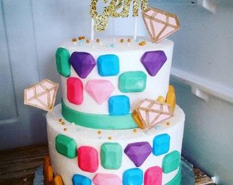 Handmade Fondant Gems cake toppers