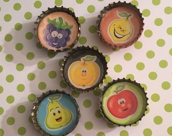 Fruits with faces recycled bottlecap magnets