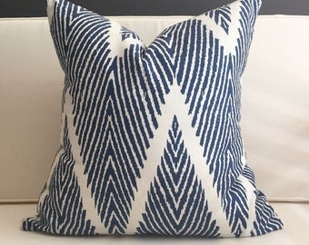 Pillow Cover, Navy Blue and White Chevron Pillow Cover - WALLACE