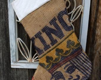 Vintage Idaho Potato Sack Rustic Burlap Christmas Stocking