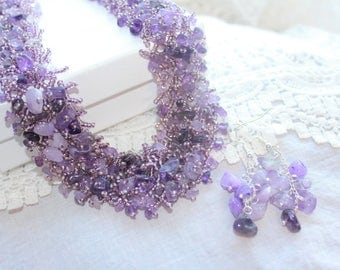 Amethyst gemstone necklace amethyst necklace amethyst jewelry stone necklace purple necklace birthstone necklace necklace for women