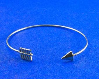 1 pc -Silver Bracelet Blank, Arrow Bracelet, Stacking Bracelet- SP-B78305-8S