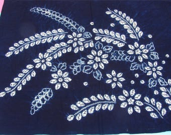Blue Dyed Fabric, Hand Dyed indigo  Shibori Fabric ,100% cotton fabriic,flower Fabric -150cm*110cm