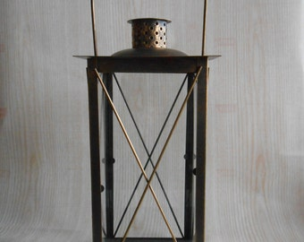 Vintage Lantern,  Rustic Lighting,  Antique Brass Lantern, Candle Holder