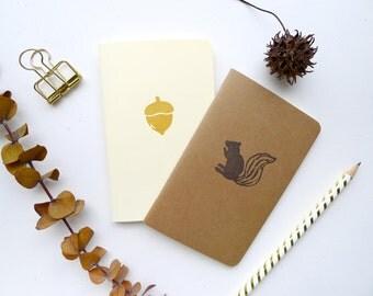 Woodland Jotter Notebook Pack / Squirrel & Acorn Pocket Journals / Plain or Graph Paper