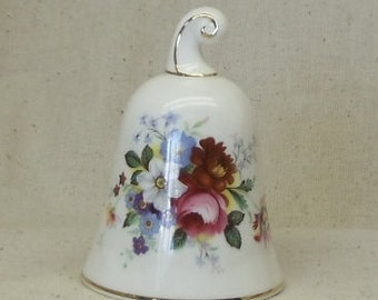 Fine Bone China Vintage Collector Bell,Red, Blue, Pink,Yellow Floral Theme,Royal Albert,Made in England,Danbury Mint,#VB7118