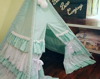 Mint Green Ruffle Teepee  with White Pompom Topper, Teepee, Girls Teepee, Play Tent, Kids Teepee, Lace Teepee, Play Teepee