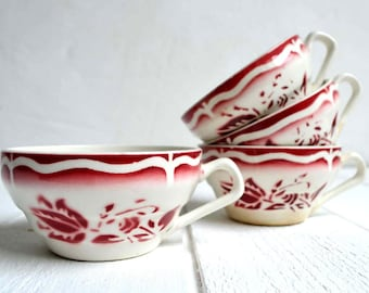 Set of 4 French Vintage Red Stencilware Tea Demitasse Coffee Cups Art Deco Digoin Sarreguemines Ala