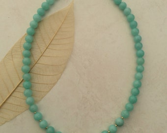 Amazonite Bead Necklace 18 inch with 24k gold filled filigree bead