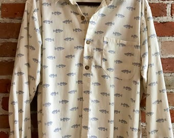 Father's Day Retro Men's Oatmeal Cotton Button down Oxford with Blue Fish Pattern, Medium
